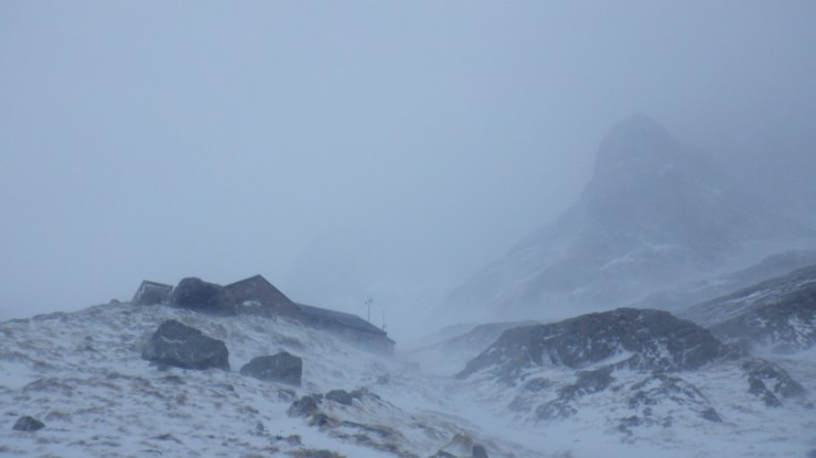 Wild conditions up by the CIC hut.