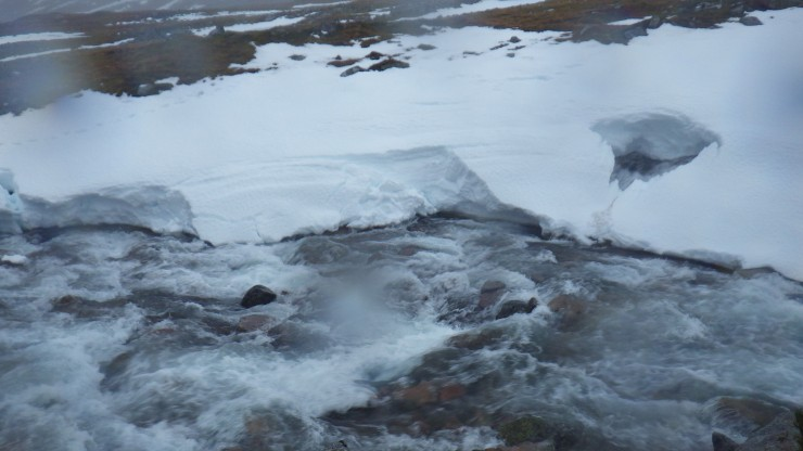The snowpack collapsing into the Allt a Mhullin.