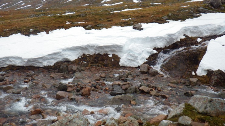 Significant snow loss in 24 hours. Yesterdays blog has a photo taken in the same place.