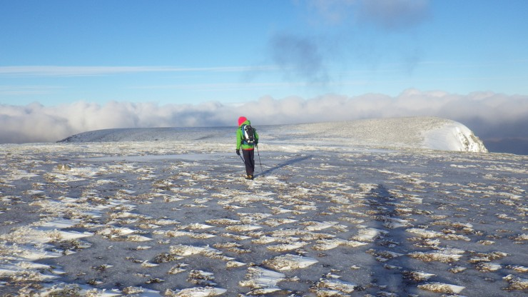 Walking on the icy plateau.