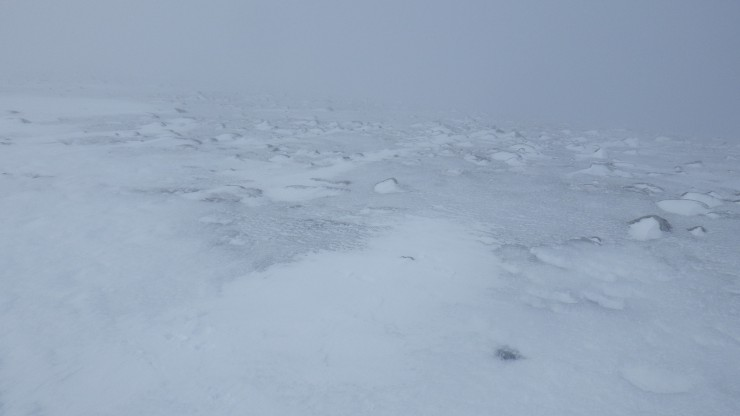 Areas of the plateau are covered in a layer of ice.