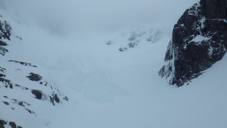 Avalanche debris below Number Three Gully