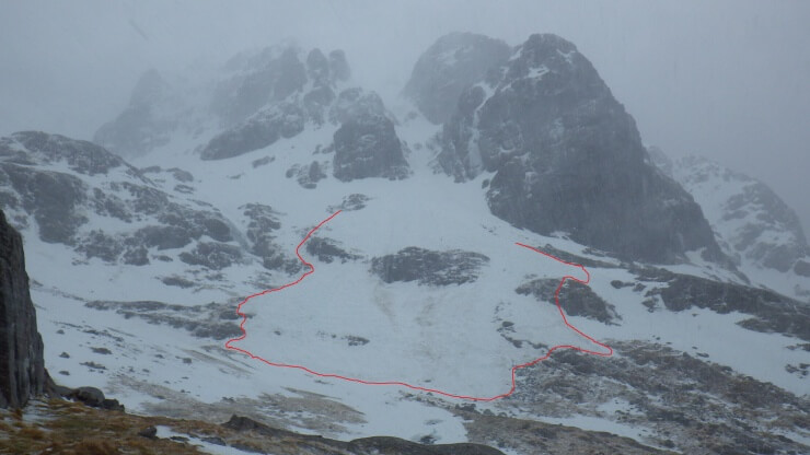 The debris fan from Saturdays Number 5 Gully avalanche shown by the red line.