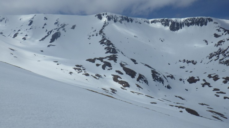 Still plenty of snow on the East face of Aonach Mor.