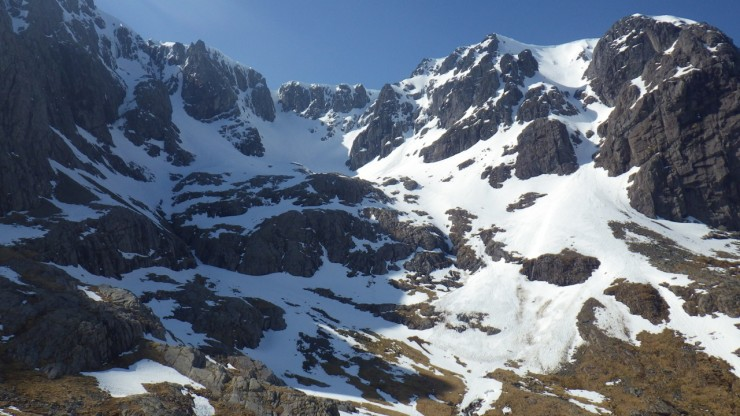 Coire na Coiste. The debris from that large Number 5 Gully avalanche about a month ago is still visible.
