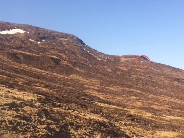 Lowest snow patch on Aonach Mor. Approx 480m on Meall Beag