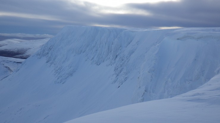 Eastern corries of Aonach Mor. Note some fresh avalanche debris below the crags