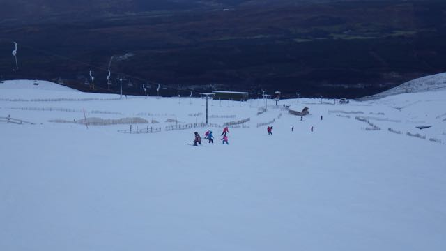 Local school children enjoying good skiing conditions.