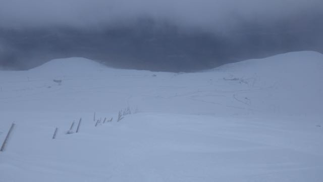 Emerging from the poor visibility above 900 metres on Aonach Mor.