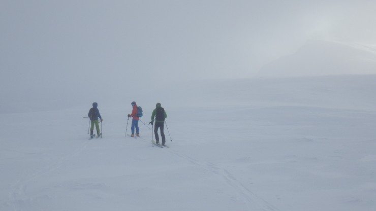 Ski touring on the Aonach Mor plateau. Aonach Beag in the distance