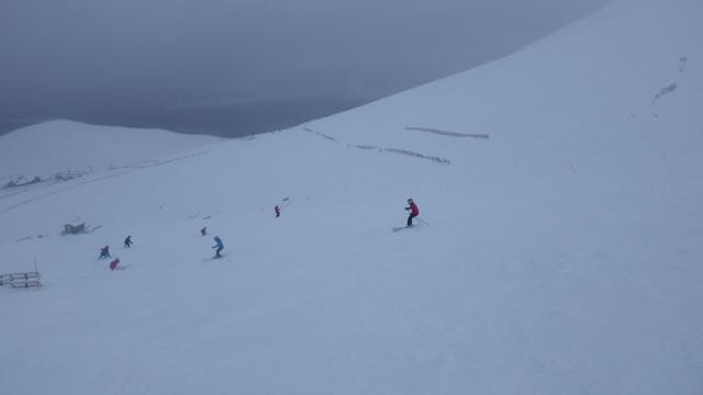 Good skiing conditions on Aonach Mor.