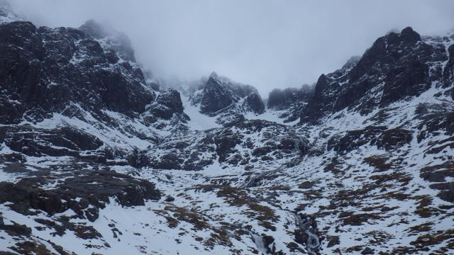 Coire na Ciste, Ben Nevis. Compare with yesterdays blog picture to see snow loss.