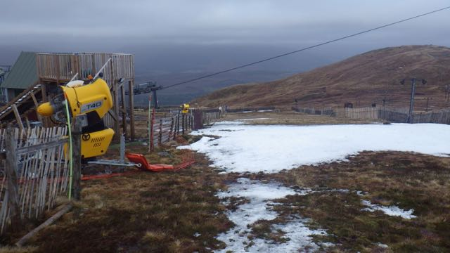 The biggest patch of snow at 650 metres on Aonach Mor.