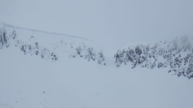 Large cornice above parts of Coire an Lohan, Aonach Mor.