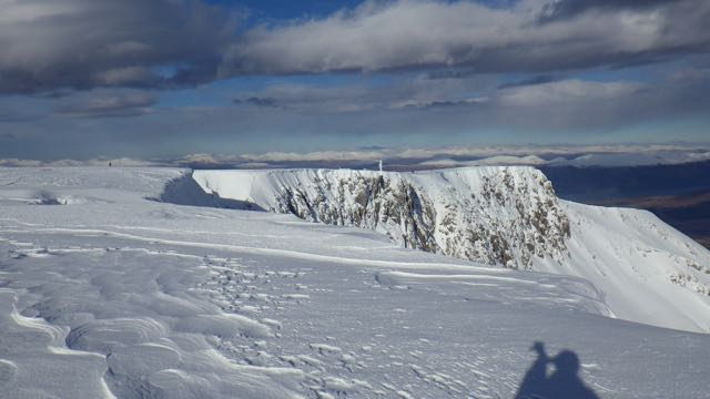 Coire an Lochan. The crags North of Easy Gully have smaller cornices than those to the South.