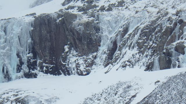 Climbers on the CIC Cascades. Avalanches were triggered below these routes.