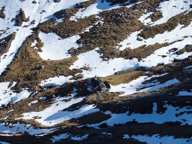 Looking down on the CIC hut.
