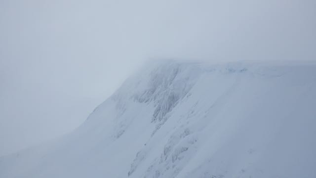 Snow and rimed rock in Coire an Lochan, Aonach Mor.