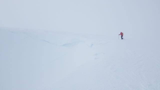 Droopy cornices above Easy Gully, Aonach Mor.