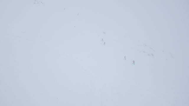 Coire Dubh was busy with skiers despite the lack of visibility.