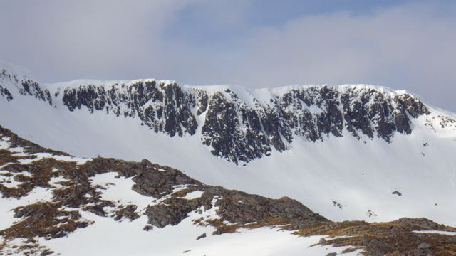 The crags in Coire am Lochan looking bare