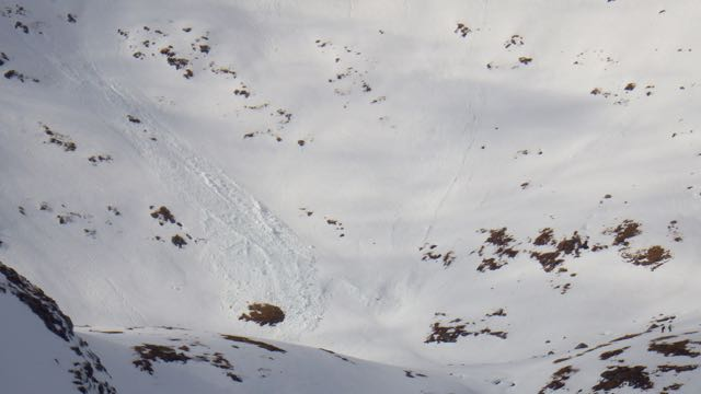 Cornice debris travelling to lower elevations. This released from 1200m and came to rest at 850m