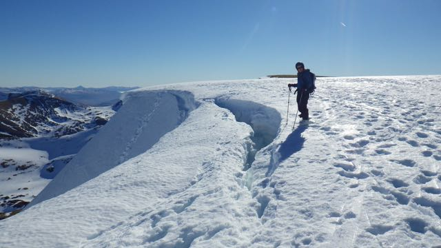 The crack around the top of Easy Gully gets bigger each day as the snow settles.
