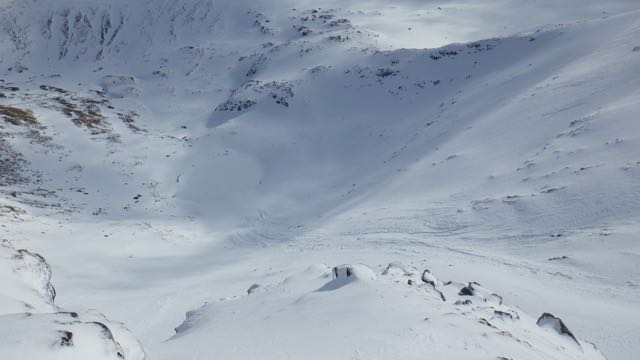 Avalanche debris below Easy Gully, Aonach Mor