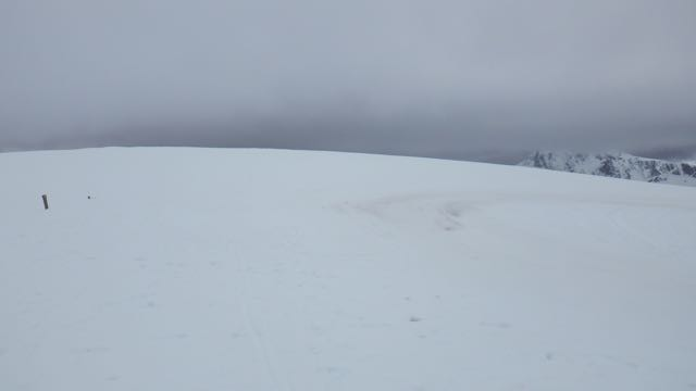 Still a good cover of snow at plateau level on Aonach Mor.