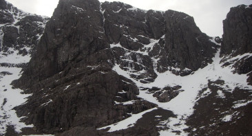 Limited snow cover on Ben Nevis